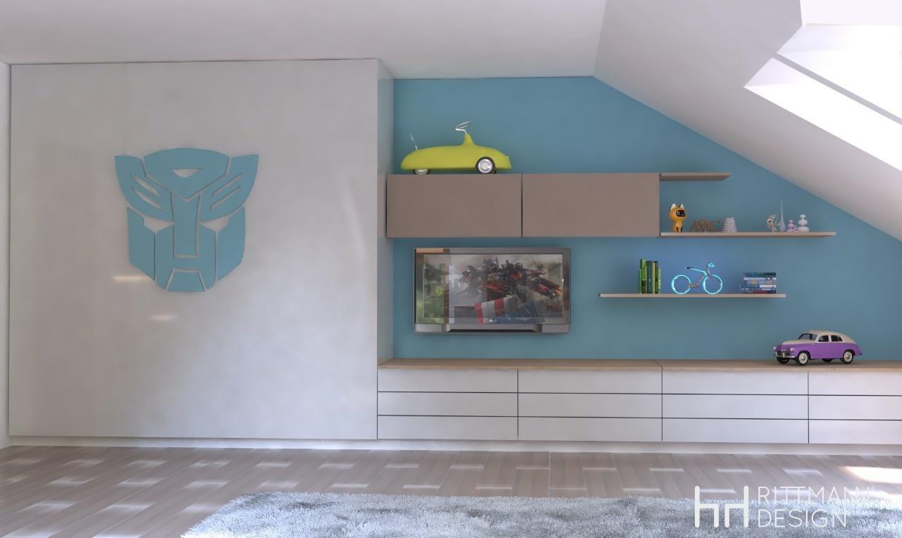 Příjemný podkrovní pokoj pro fandu Transformeru. Kobinace bílé f59e455226