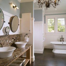 Koupelna s p iznan m kom nem z cihel - Salle de bain campagne chic ...