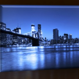 LED obraz New York City - Brooklyn 45x30 cm