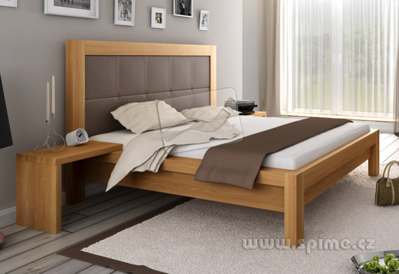 56bd4722c85c Dřevěná postele z masivu MODENA drásaný DUB manželské dvoulůžko ...