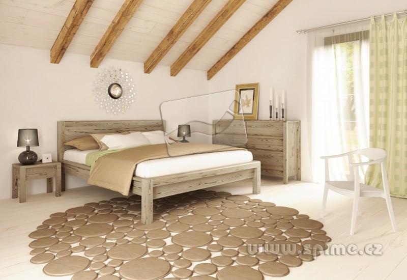490945230265 Dřevěná postel z masivu STONE manželské dvoulůžko