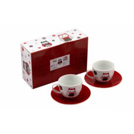 Home Elements šapo porcelán Červená sova 250 ml sada 4 kusy moderninakup.cz