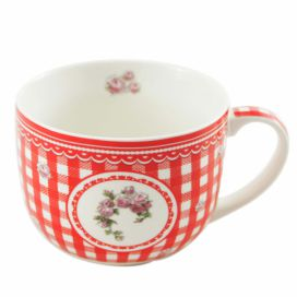 Home Elements porcelánový hrnek Elegant red 500 ml - červené kostky