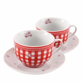 Home Elements porcelánová šapo sada Elegant red 250 ml - červené kostky