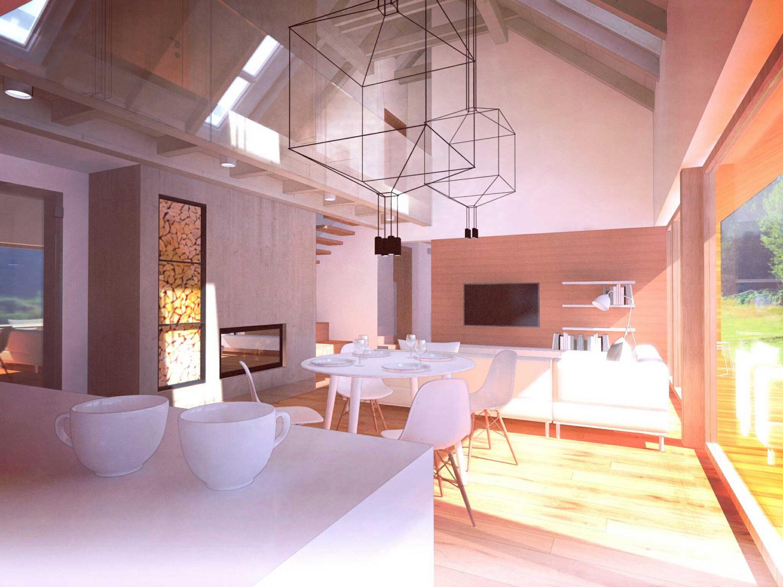 Moderní dům na venkově - jídelna s krbem - 3K Architects s.r.o. fa68b63b65