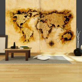 Bimago Fototapeta - Gold-diggers\' map of the World 350x270  cm GLIX DECO s.r.o.