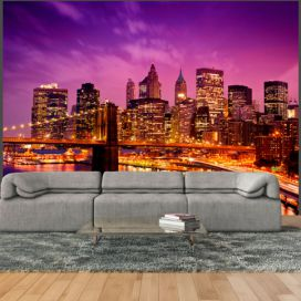 Bimago Fototapeta - Manhattan and Brooklyn Bridge by night 200x154 cm GLIX DECO s.r.o.