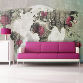 Bimago Fototapeta - Map of the World - Howling to the moon 350x270  cm GLIX DECO s.r.o.