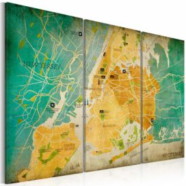 Bimago Obraz na plátně - Map of New York City\'s: neighborhoods 60x40 cm GLIX DECO s.r.o.