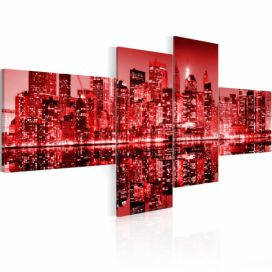 Obraz na plátně - NYC - city in shades of redness 100x45 cm GLIX DECO s.r.o.