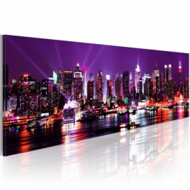 Obraz na plátně Bimago - Purple sky over New York 120x40 cm GLIX DECO s.r.o.