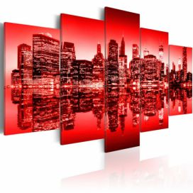 Obraz na plátně - Red glow over New York - 5 pieces 100x50 cm GLIX DECO s.r.o.
