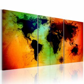 Obraz na plátně Bimago - World map - colorful oceans 60x30 GLIX DECO s.r.o.