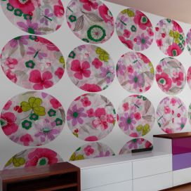 Bimago Tapeta - Pink meadow - circle role 50x1000 cm GLIX DECO s.r.o.