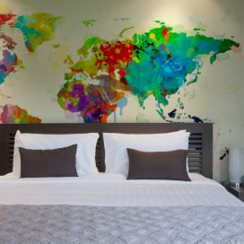 Bimago Fototapeta - Paint splashes map of the World 200x154 cm GLIX DECO s.r.o.