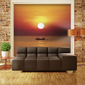 Bimago Fototapeta - Sunset with fishing boat 200x154 cm GLIX DECO s.r.o.