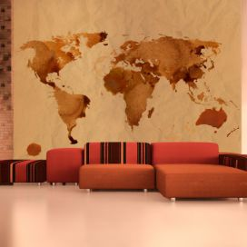 Bimago Fototapeta - Tea map of the World 350x270  cm GLIX DECO s.r.o.