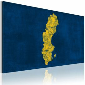 Obraz na plátně - Painted map of Sweden 60x40 cm GLIX DECO s.r.o.