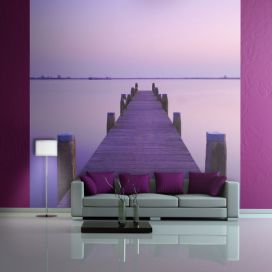 Bimago Fototapeta - Violet sunset and a bridge by a lake 200x154 cm GLIX DECO s.r.o.