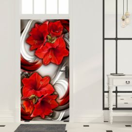 Fototapeta na dveře - Abstraction and red flowers I 100x210 cm GLIX DECO s.r.o.