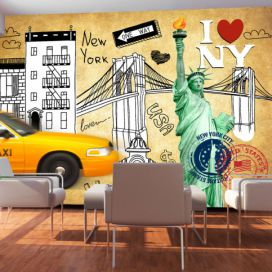 Bimago Fototapeta - One way - New York 200x140 cm GLIX DECO s.r.o.