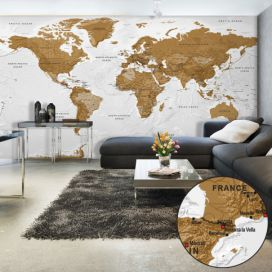 Bimago Fototapeta XXL - World Map: White Oceans II 500x280 cm