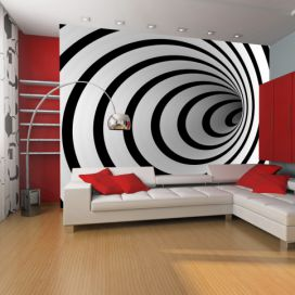 Fototapeta - Black and white 3D tunnel - 400x309 4wall.cz