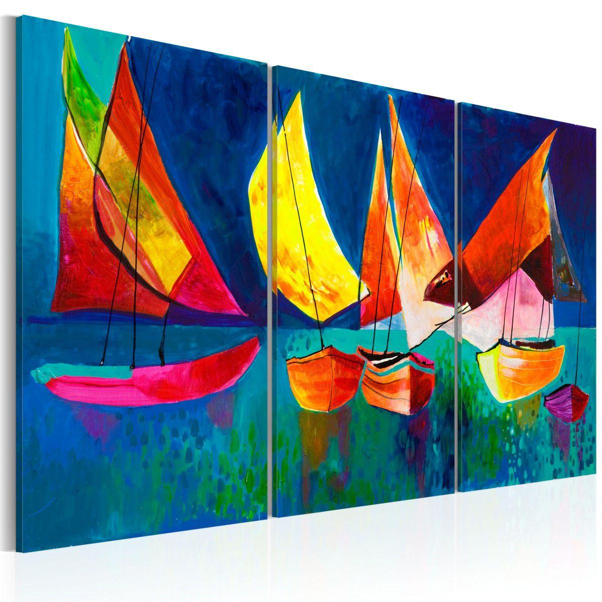 ... Ručně malovaný obraz - Barevné plachetnice - 120x80 03d7a33461