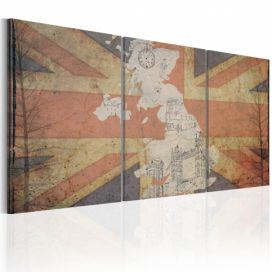 Obraz - Map of Great Britain (Vintage) - 60x30 4wall.cz