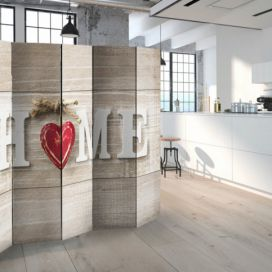 Paraván - Room divider - Home and red heart 225x172cm