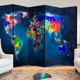Paraván - Room divider – Colorful map 225x172cm GLIX DECO s.r.o.
