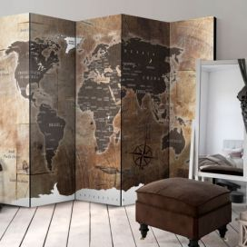 Paraván - Room divider – Map on the wood 225x172cm GLIX DECO s.r.o.
