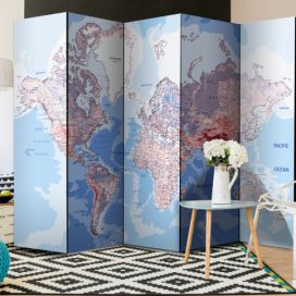 Paraván - Room divider – World map 225x172cm