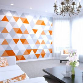 Fototapeta - Bright Orange Geometric 300x240 cm GLIX DECO s.r.o.
