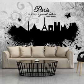 Bimago Fototapeta - Paris is always a good idea - black and white 150x105 cm GLIX DECO s.r.o.