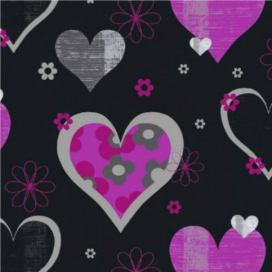 Tapeta na zeď - Arthouse Happy Hearts Happy Hearts Black/Pink GLIX DECO s.r.o.