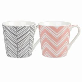Sada 2 hrnků z kostního porcelánu Churchill China Couture Geometric Chevron, 325 ml