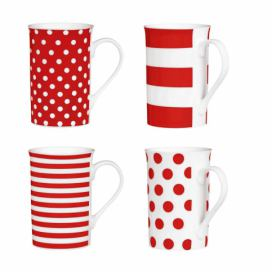 Sada 4 porcelánových hrnečků Premier Housewares Spot and Stripes Red, 270 ml