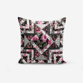 Povlak na polštář s příměsí bavlny Minimalist Cushion Covers Black White With Points Flower Modern, 45 x 45 cm