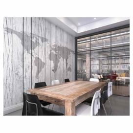 Fototapeta - World Map Timber 300x240 cm