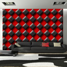Bimago Fototapeta - Red & Black Chessboard 350x245 cm
