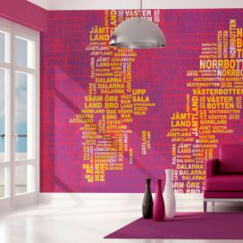Bimago Fototapeta - Text map of Sweden on pink background 200x154 cm