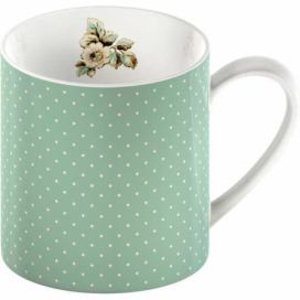 Zelený porcelánový hrnek s puntíky Creative Tops Cottage Flower, 330 ml
