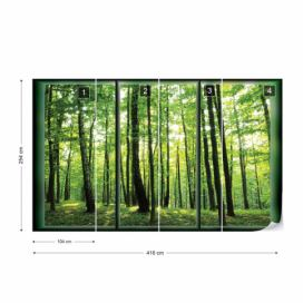 Fototapeta - Forest Trees Green Window View Vliesová tapeta  - 416x254 cm