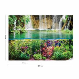Fototapeta - Jungle Waterfall Vliesová tapeta  - 208x146 cm