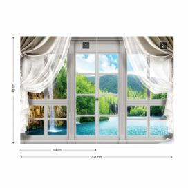 Fototapeta - 3D Door View Waterfall Lake Forest IV.d-door-view-waterfall-lake-forest Vliesová tapeta  - 208x146 cm