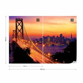 Fototapeta - City Skyline Golden Gate Bridge I. Vliesová tapeta  - 208x146 cm