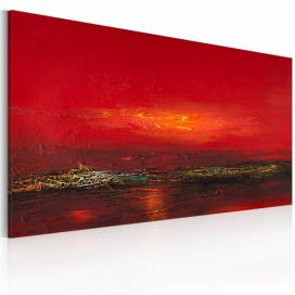 Bimago Ručně malovaný obraz - Red sunset over the sea 120x60 cm GLIX DECO s.r.o.