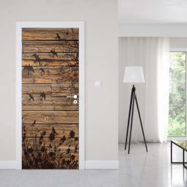 GLIX Fototapeta na dveře - Rustic Birds And Tree Silhouette Wood Plank Texture | 91x211 cm