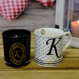 Arôme+Home Elements Hrnek a svíčka, monogram K